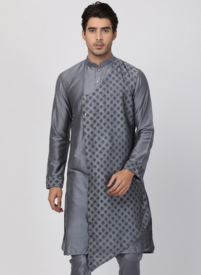 Grey plain blended cotton men-kurtas