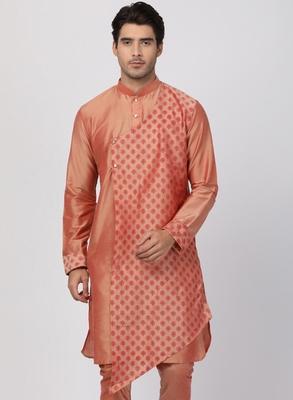 Pink plain blended cotton men-kurtas