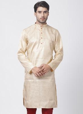 Gold plain blended cotton men-kurtas