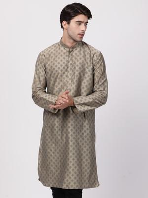 Brown plain cotton silk men-kurtas