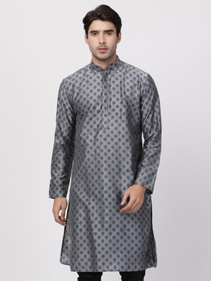 Grey plain cotton silk men-kurtas