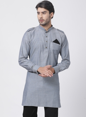 Grey plain cotton men-kurtas