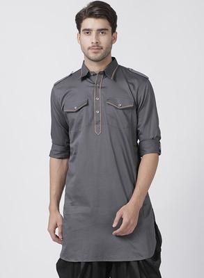 Grey plain cotton men-kurtas