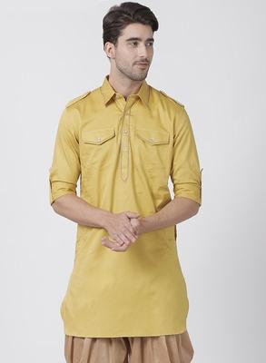 Yellow Plain Cotton Men Kurtas
