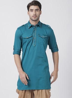 Turquoise plain cotton men-kurtas