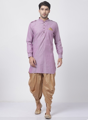 Purple plain blended cotton dhoti-kurta