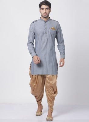 Grey plain blended cotton dhoti-kurta