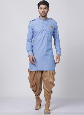 Blue plain blended cotton dhoti-kurta