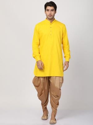 Yellow plain blended cotton dhoti-kurta