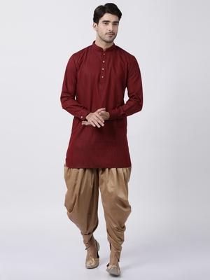 Maroon plain blended cotton dhoti-kurta