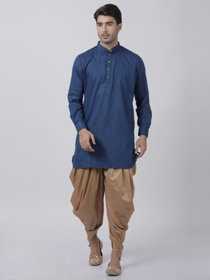 Blue plain blended cotton dhoti-kurta