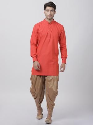 Orange plain blended cotton dhoti-kurta