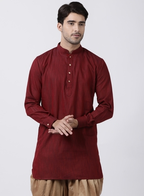 Maroon plain cotton men-kurtas