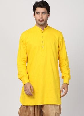 Yellow plain cotton men-kurtas