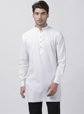 White plain cotton men-kurtas