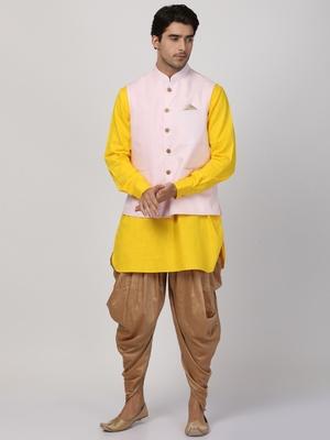 Yellow Plain Cotton Dhoti-Kurta