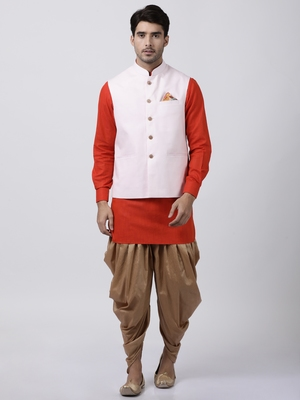 Red Plain Cotton Dhoti-Kurta