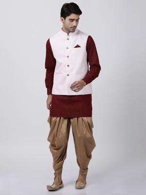 Maroon Plain Cotton Dhoti-Kurta