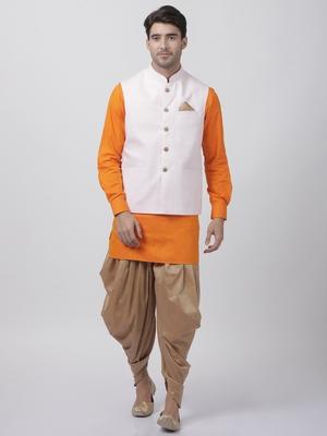 Orange Plain Cotton Dhoti-Kurta