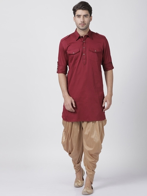 Maroon plain cotton pathani-suits