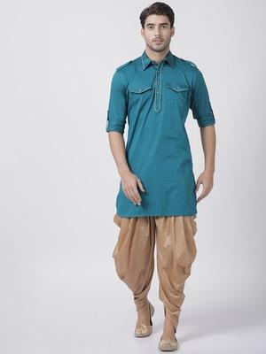 Turquoise plain cotton pathani-suits