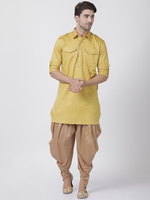 Yellow plain cotton pathani-suits