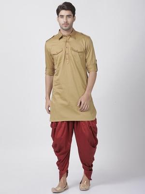 Brown Plain Cotton Pathani-Suits