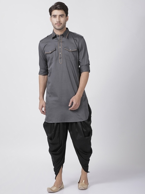 Grey Plain Cotton Pathani Suits