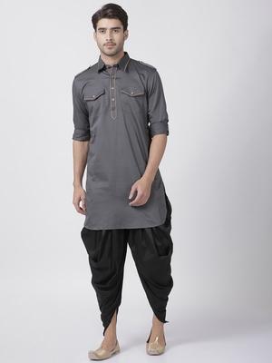Grey plain cotton pathani-suits