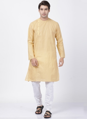 Beige Plain Cotton Kurta Pajama