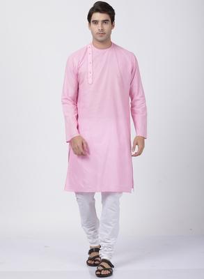Pink plain cotton kurta-pajama