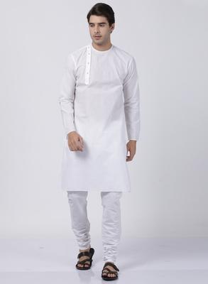 White plain cotton kurta-pajama
