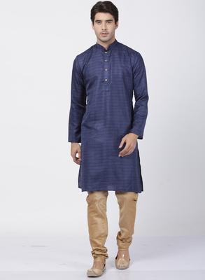 Blue plain blended cotton kurta-pajama