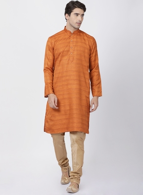 Brown Plain Blended Cotton Kurta-Pajama