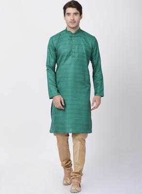 Green Plain Blended Cotton Kurta-Pajama
