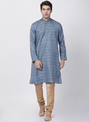 Grey Plain Blended Cotton Kurta Pajama