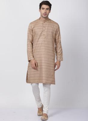 Gold plain blended cotton kurta-pajama