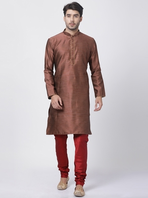 Maroon Plain Blended Cotton Kurta-Pajama