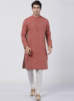 Red plain blended cotton kurta-pajama