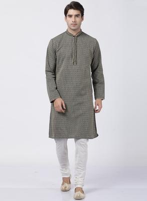 Black Plain Blended Cotton Kurta Pajama