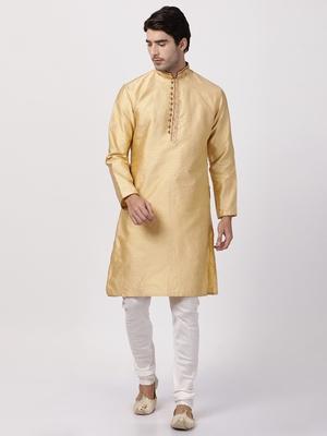 Beige plain blended cotton kurta-pajama