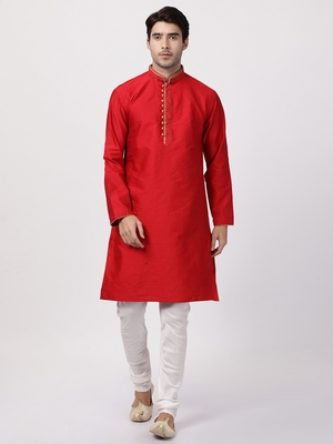 Red Plain Blended Cotton Kurta Pajama