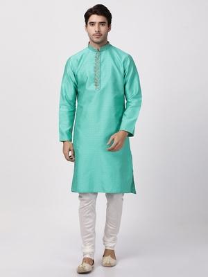 Green Plain Blended Cotton Kurta Pajama