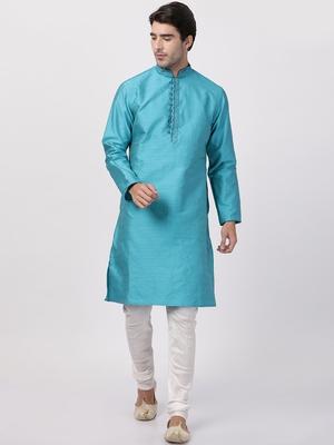 Turquoise plain blended cotton kurta-pajama