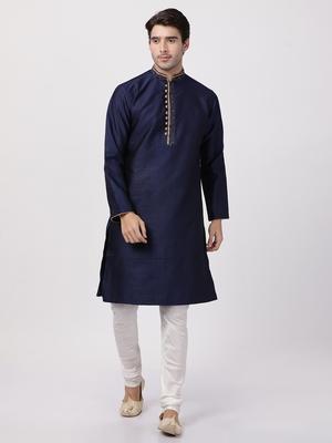 Blue Plain Blended Cotton Kurta Pajama