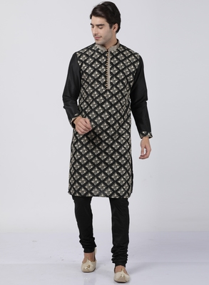 Black plain blended cotton kurta-pajama