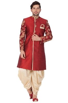 Maroon Plain Silk Blend Sherwani