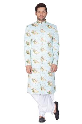 Multicolor plain blended cotton sherwani