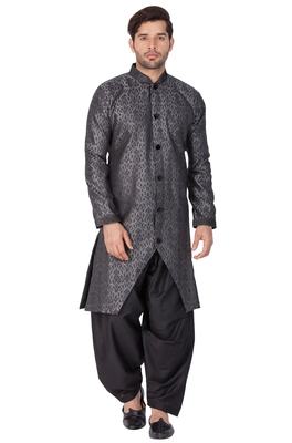 Grey Plain Silk Blend Sherwani