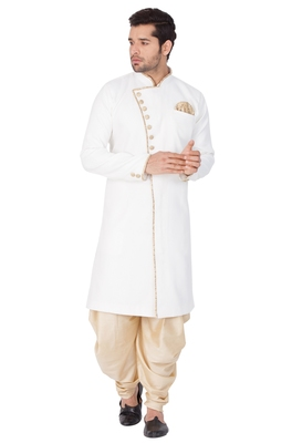 White Plain Blended Cotton Sherwani